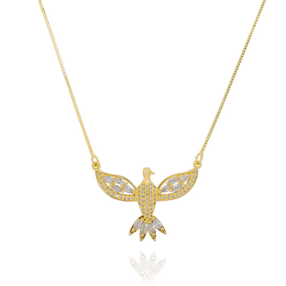 Colar Espírito Santo Navete Zircônia Incolor Ouro 18k - Giro Semijoias
