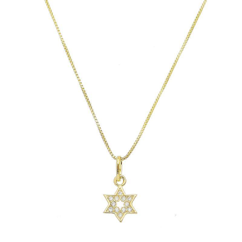 Colar Estrela de Davi Cravejado em Zircônias Folheado em Ouro 18k