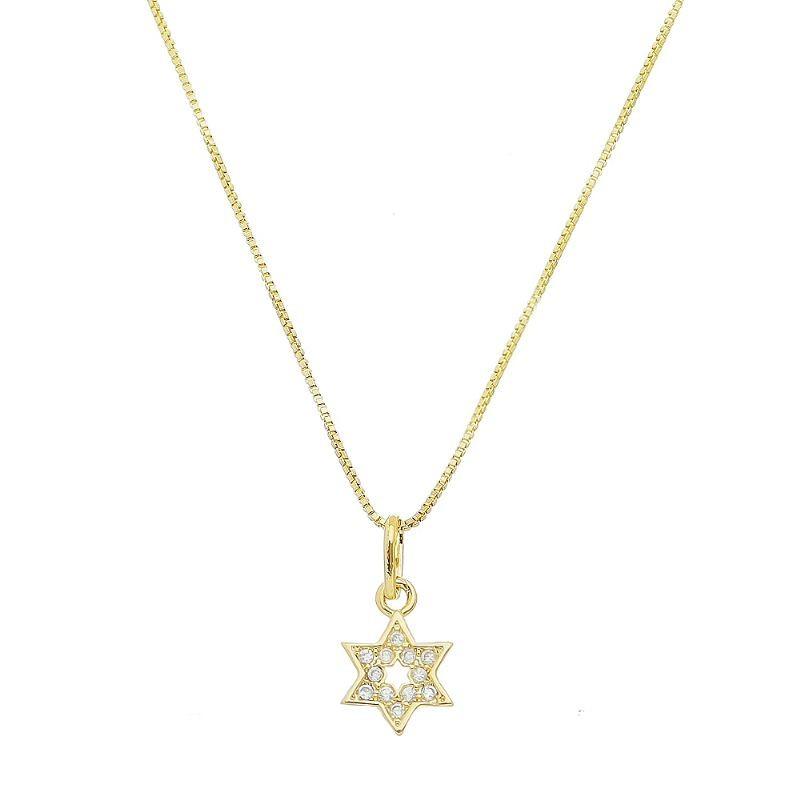 Colar Estrela de Davi Cravejado em Zircônias Folheado em Ouro 18k - Giro Semijoias