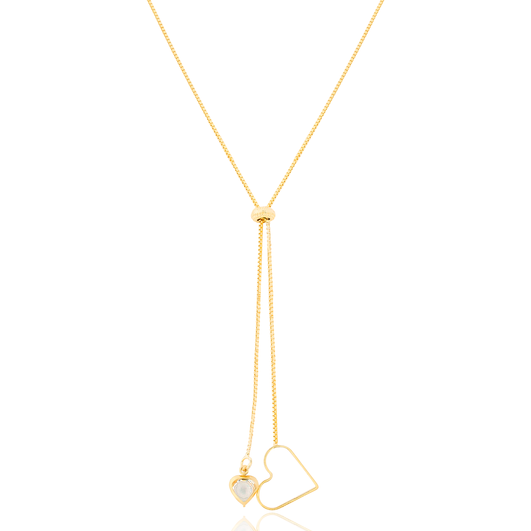 Colar Fecho Gravada e Pingentes de Coração Folheado em Ouro 18k - Giro Semijoias