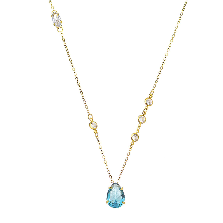 Colar Gota Cristal Azul Folheado em Ouro 18k