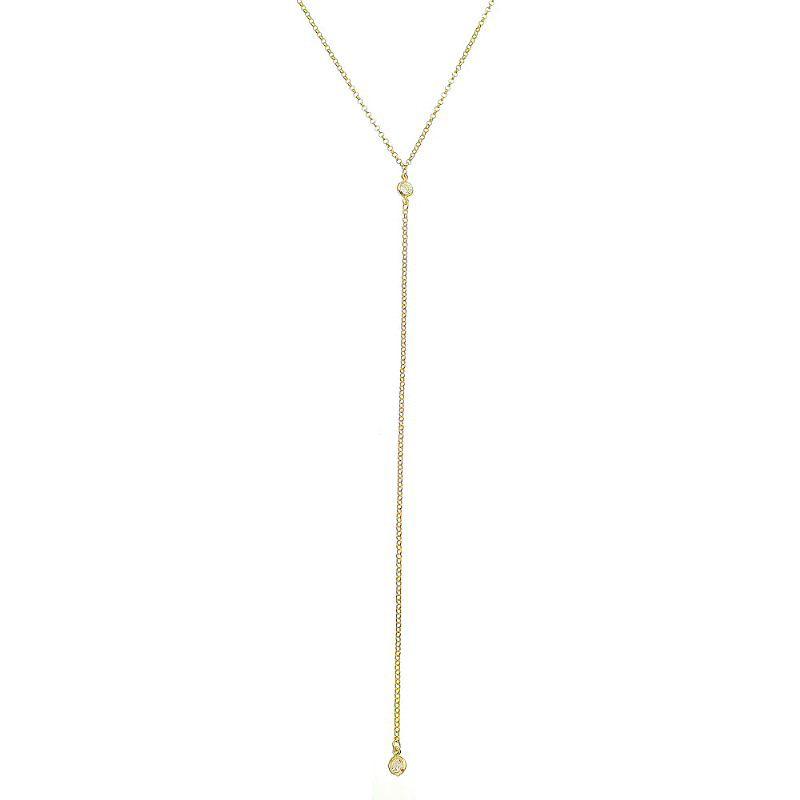 Colar Gravata 2 Pontos de Luz de Zircônia Corrente Portuguesa Folheado em Ouro 18k- Giro Semijoias