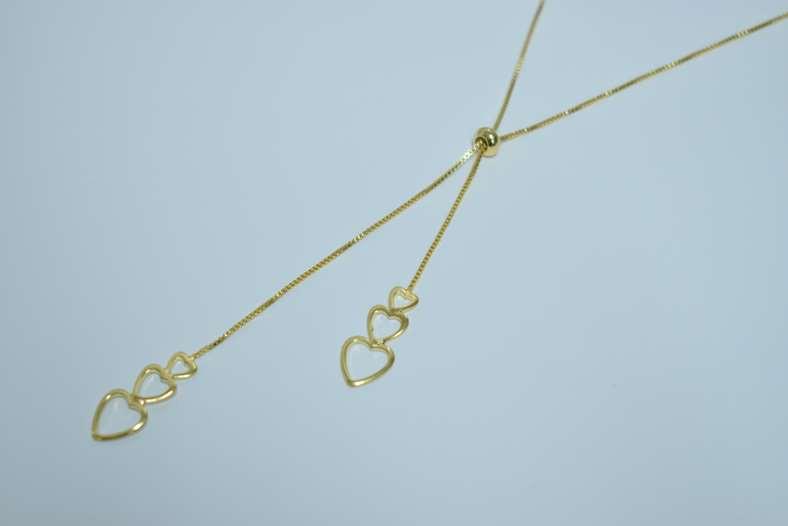 Colar Gravata C/ Corações Liso Hogg - Banho Ouro 18k