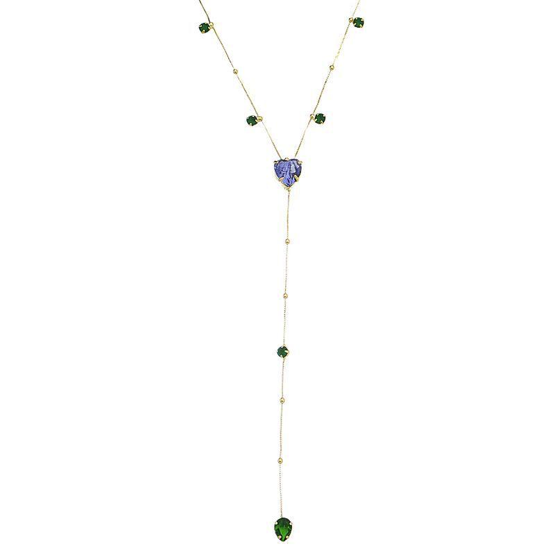 Colar Gravatinha Coração Cristal e Gota Zircônia Colorido Ouro 18k- Giro Semijoias