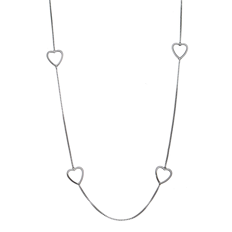 Colar Longo C/ Coração Ródio Negro- Giro Semijoias