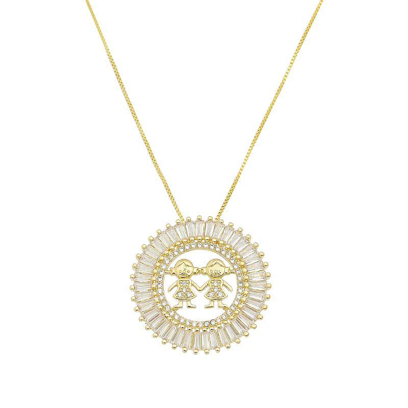 Colar Mandala 2 Meninas Folheado em Ouro 18k- Giro Semijoias