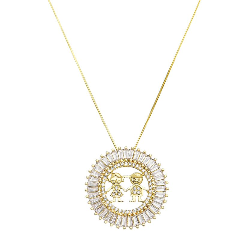 Colar Mandala Casal Folheado em  Ouro 18k- Giro Semijoias