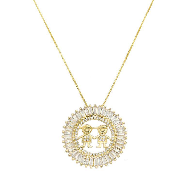 Colar Mandala Dois Meninos com Navetes em Zircônia Folheado em Ouro 18k - Giro Semijoias