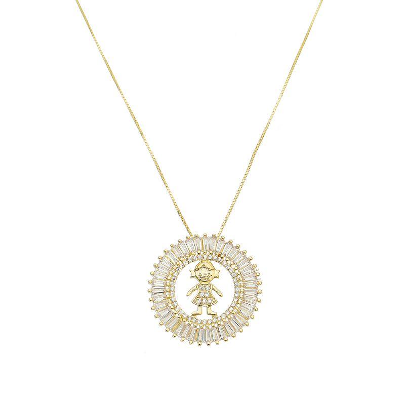 Colar Mandala Menina com Navetes em Zircônia Folheado em Ouro 18k