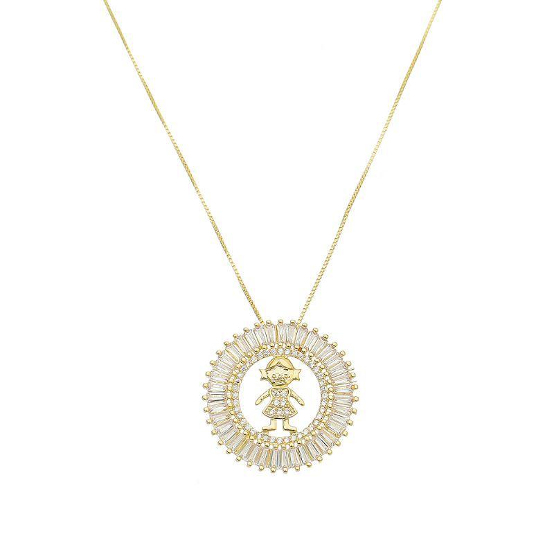 Colar Mandala Menina Folheado em  Ouro 18k- Giro Semijoias