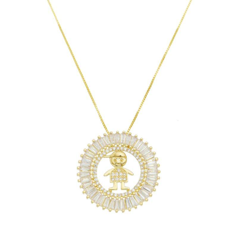 Colar Mandala Menino com Navetes em Zircônia Folheado em Ouro 18k - Giro Semijoias