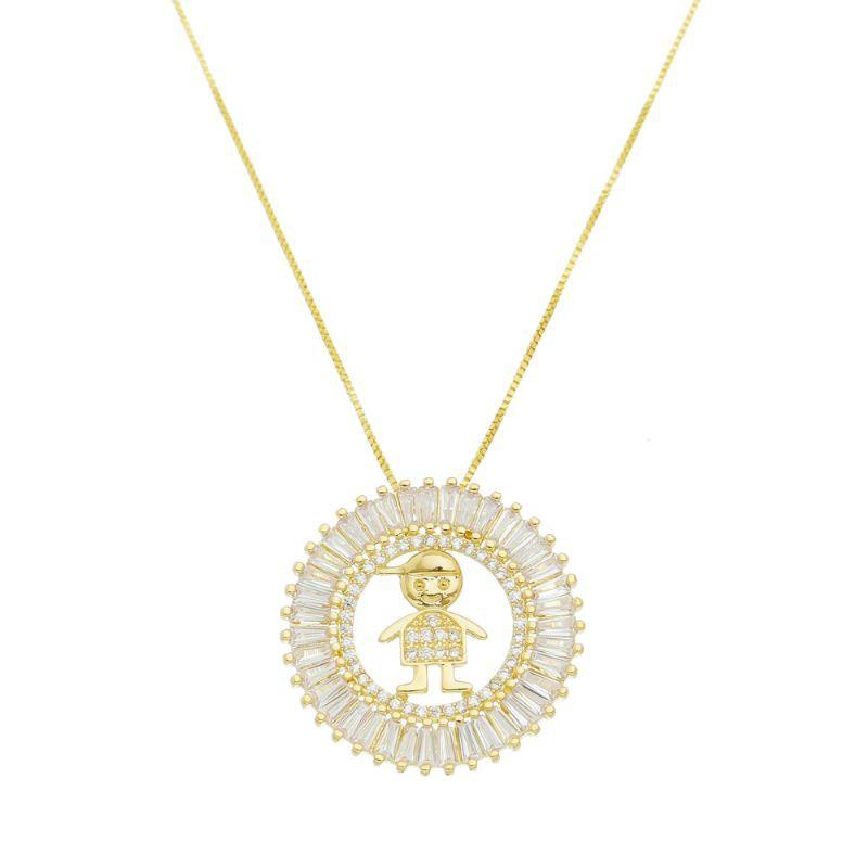 Colar Mandala Menino Folheado em  Ouro 18k- Giro Semijoias