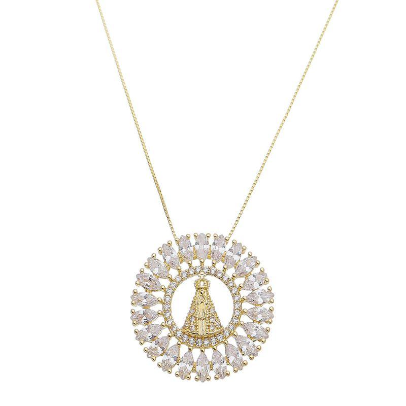Colar Mandala Nossa Senhora Aparecida com Navetes em Zircônia Folheado em Ouro 18k