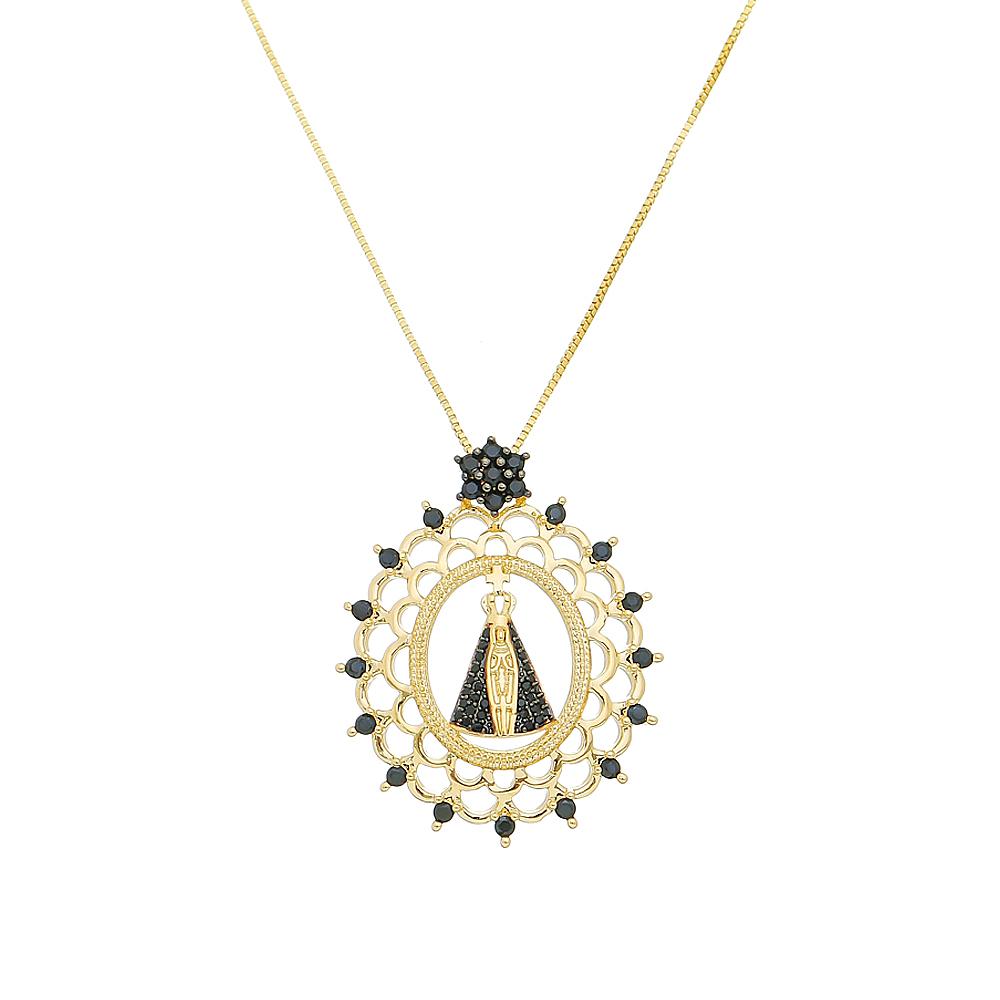 Colar Mandala Nossa Senhora Aparecida com Zircônias Pretas Folheado em Ouro 18k