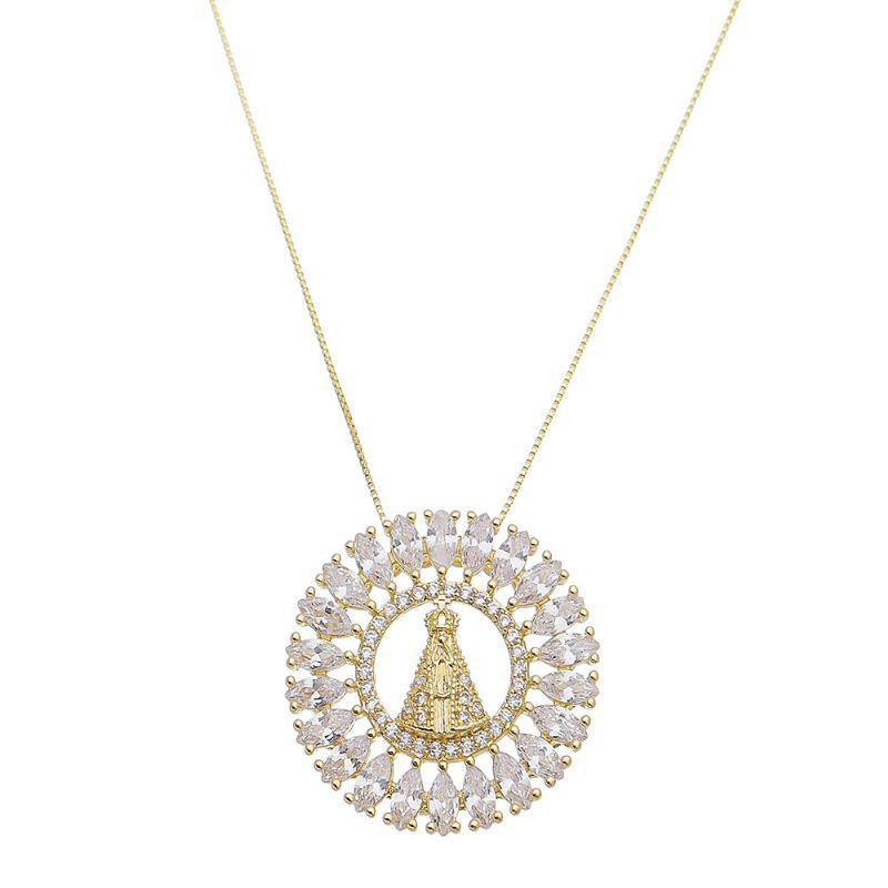 Colar Mandala Nossa Senhora Aparecida M Ouro 18k- Giro Semijoias