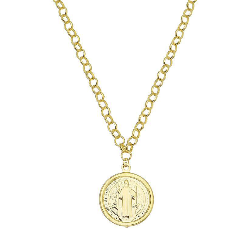 Colar Medalha São Bento Corrente Portuguesa Ouro 18k- Giro Semijoias