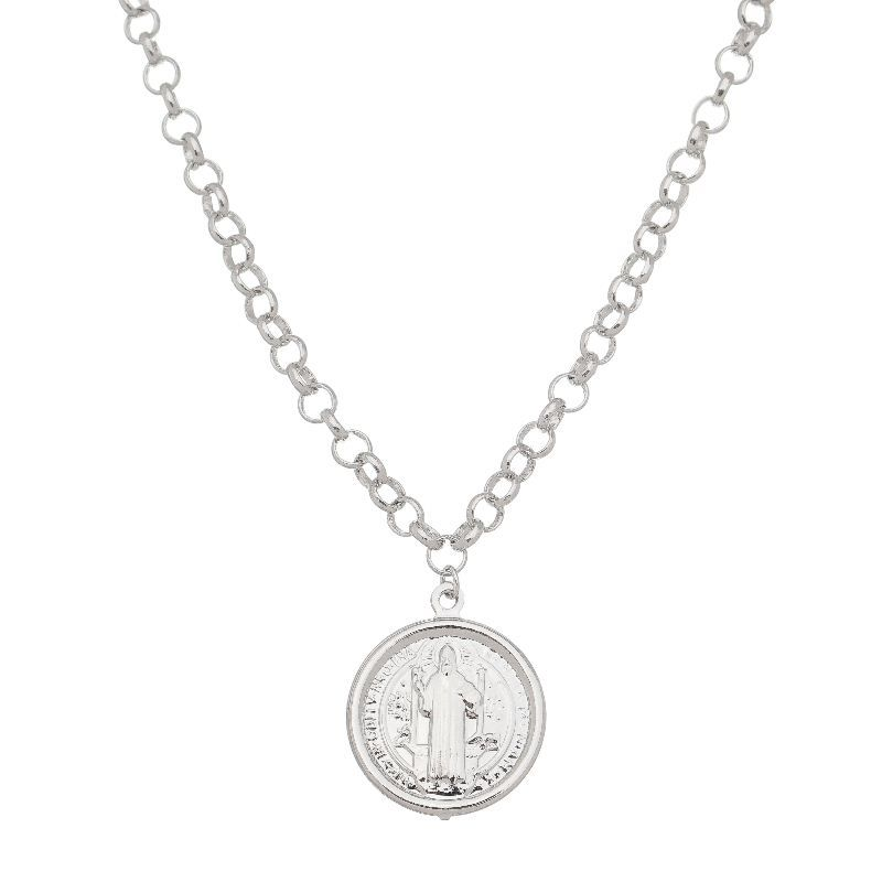 Colar Medalha São Bento Corrente Portuguesa Ródio Branco- Giro Semijoias
