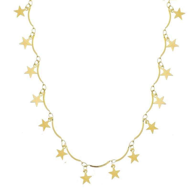 Colar Pinos com Pingentes de Estrelas Folheado em Ouro 18k