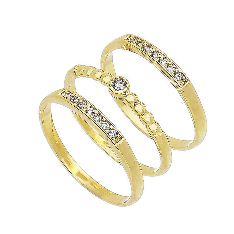 Trio de Anéis Solitário e Aparador Cravejado em Zircônia Folheado em Ouro 18k - Giro Semijoias