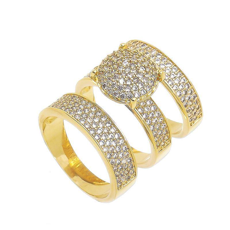 Conjunto 3 Anéis Ponto Central Cravejado de Zircônia Ouro 18k- Giro Semijoias