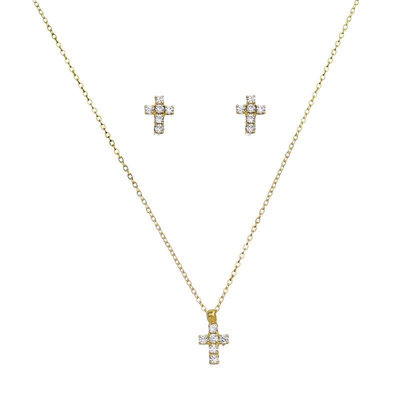 Conjunto Chocker Cruz Pequena Cravejado em Zircônias Folheado em Ouro 18k