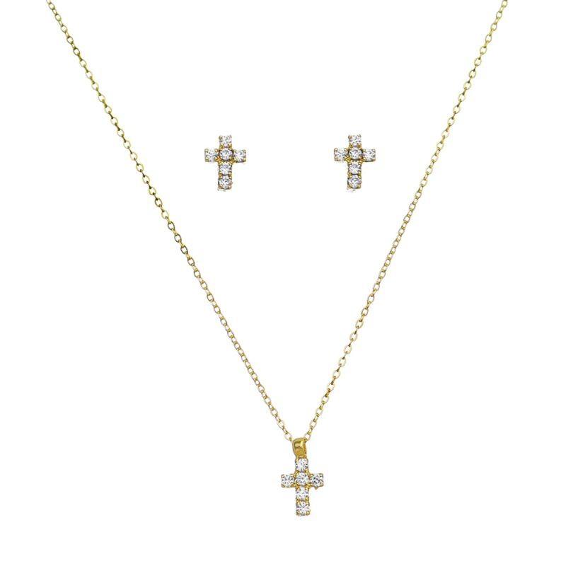 Conjunto Chocker Cruz Pequena Cravejado em Zircônias Folheado em Ouro 18k - Giro Semijoias