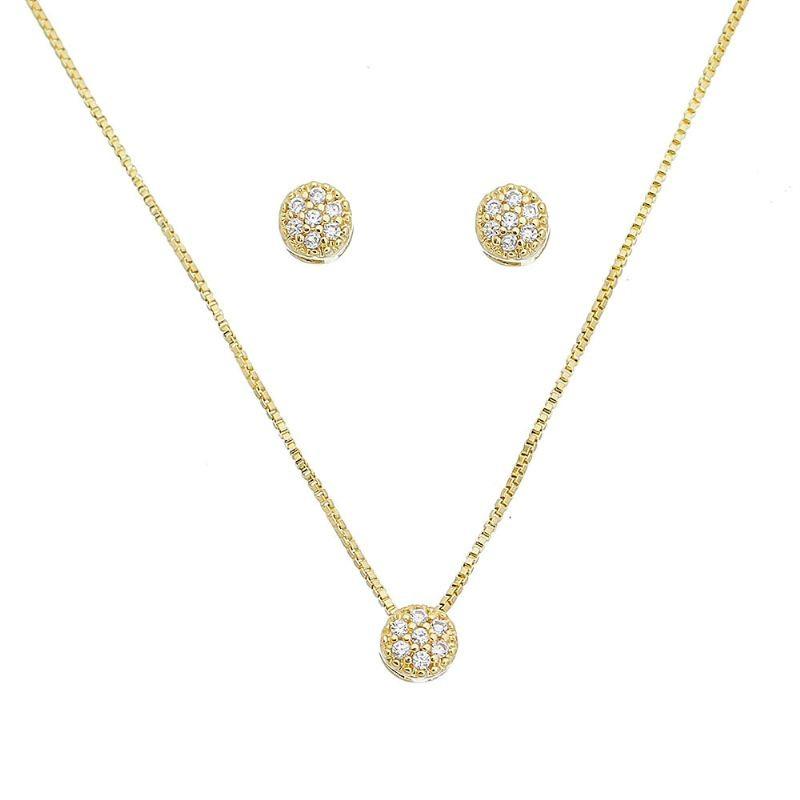 Conjunto Círculo Cravejado em Zircônias Folheado em Ouro 18k - Giro Semijoias