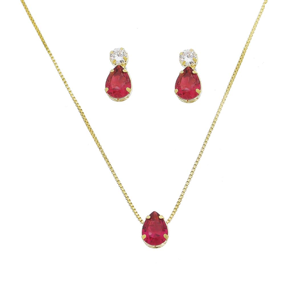 Conjunto Colar e Brincos Gota com Pedra Fusion Rosa e Zircônias Incolor Folheados em Ouro 18k