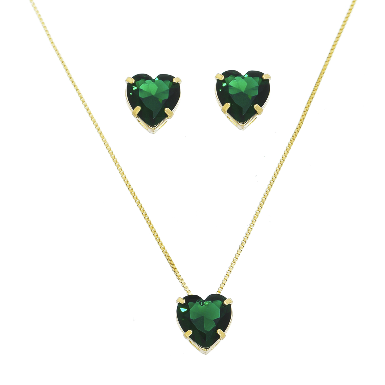 Conjunto Coração de Cristal Verde Ouro 18k