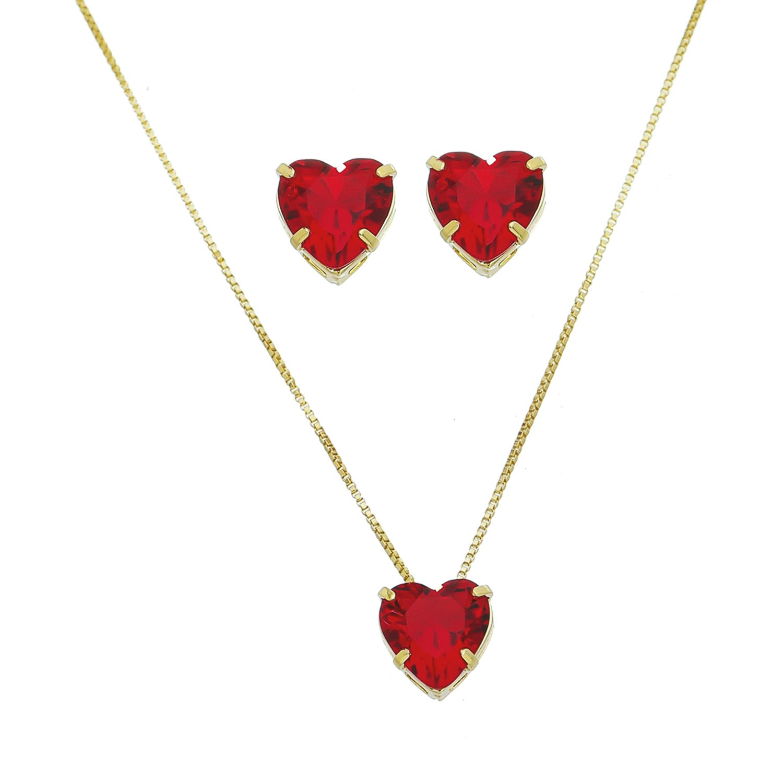 Conjunto Coração de Cristal Vermelho Ouro 18k- Giro Semijoias