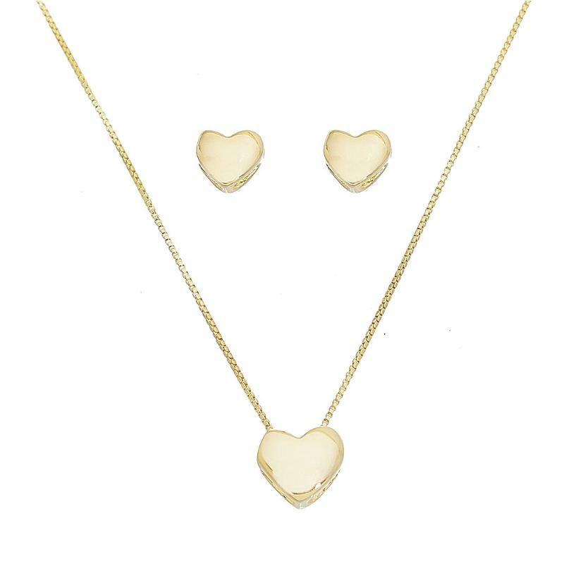 Conjunto Coração Liso Folheado em Ouro 18k - Giro Semijoias