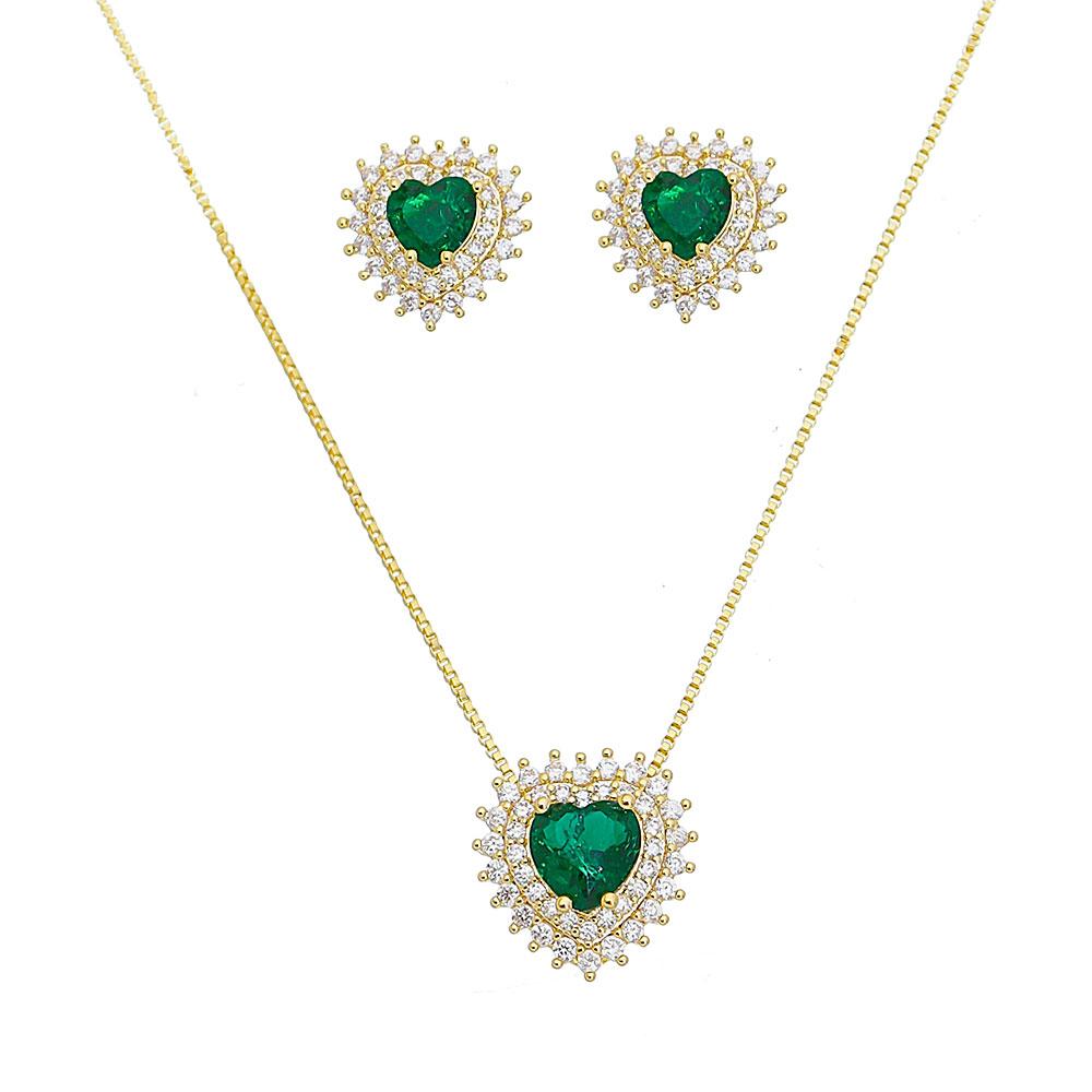 Conjunto coração  P de Fusion Verde C/ contorno de zircônia Ouro 18k
