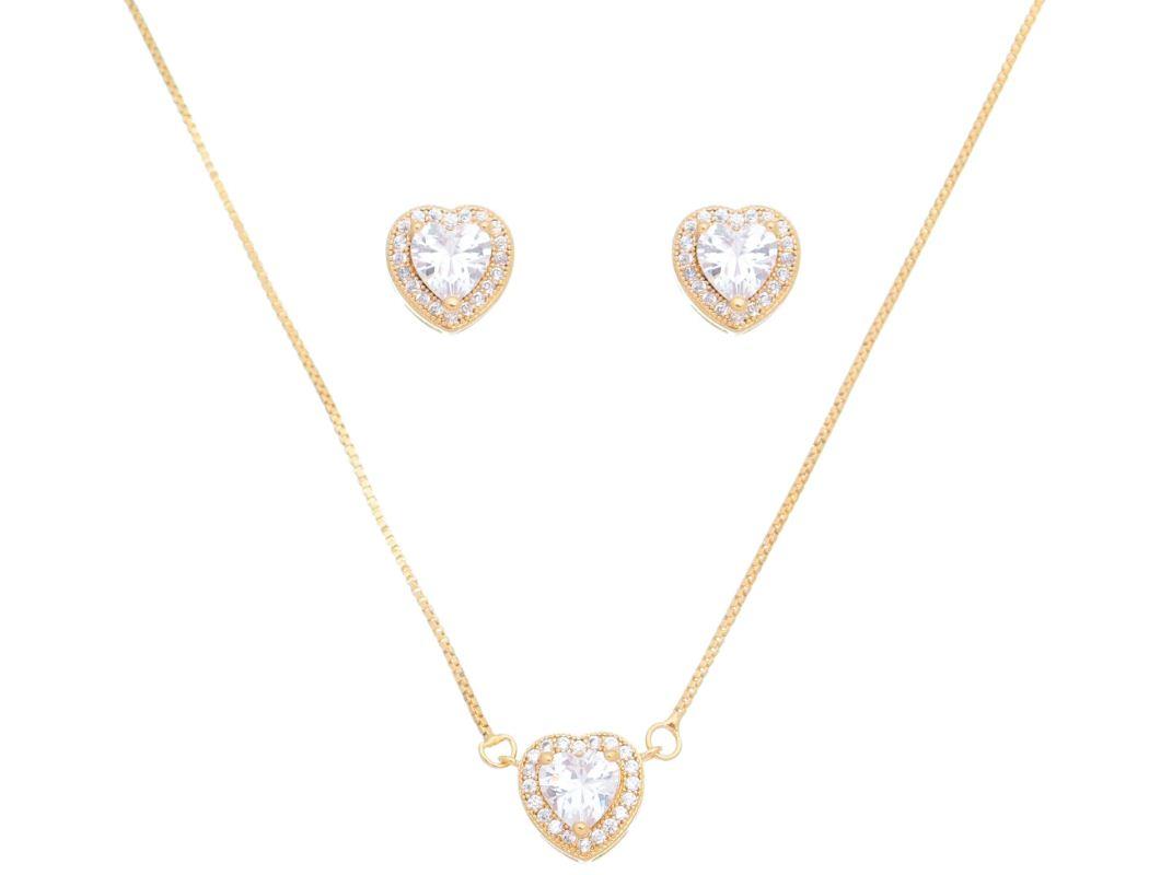 Conjunto Coraçâo Pedra Cristal Incolor Ouro 18