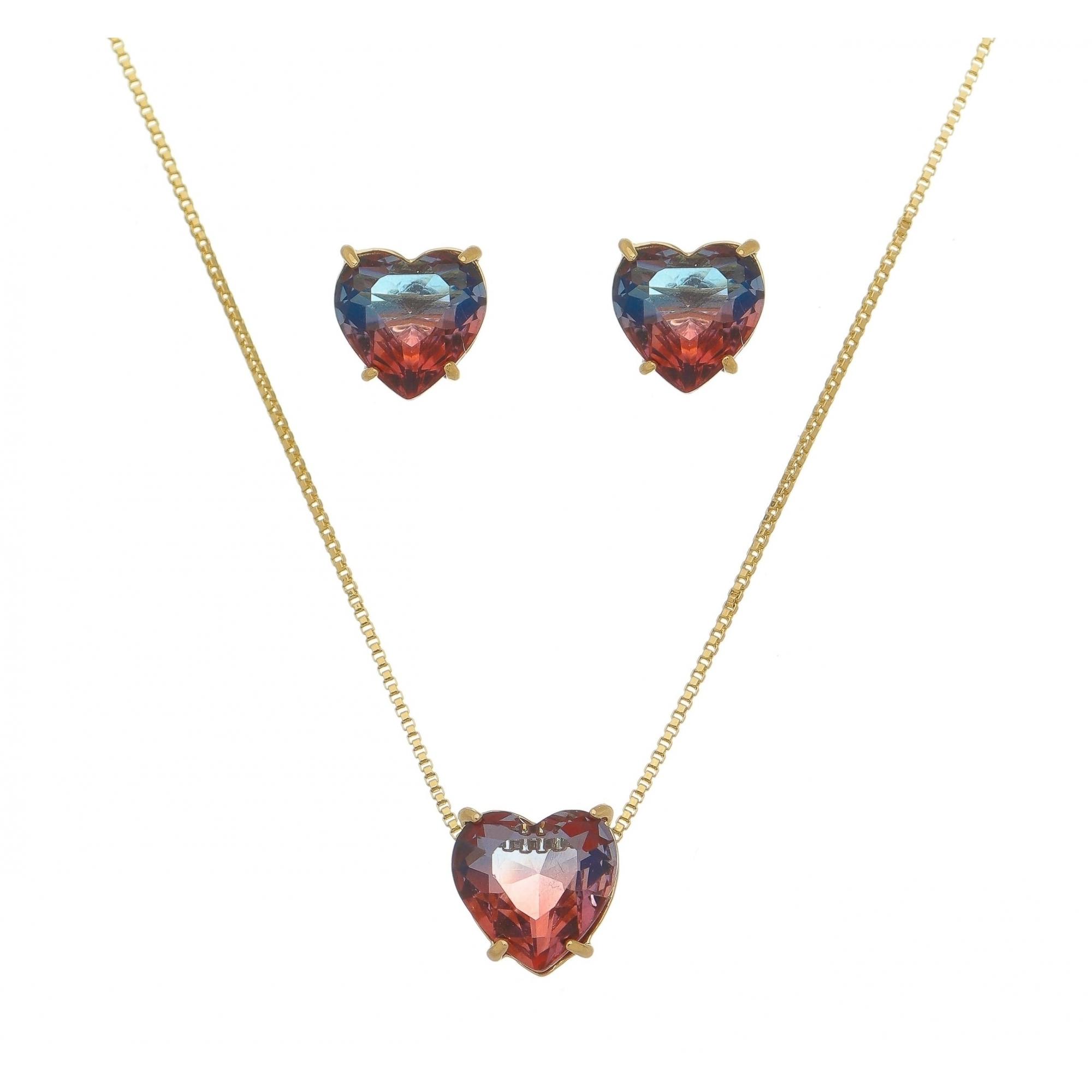 Conjunto Coração Pedra Rainbow Azul e Vermelho Folheado em Ouro 18k
