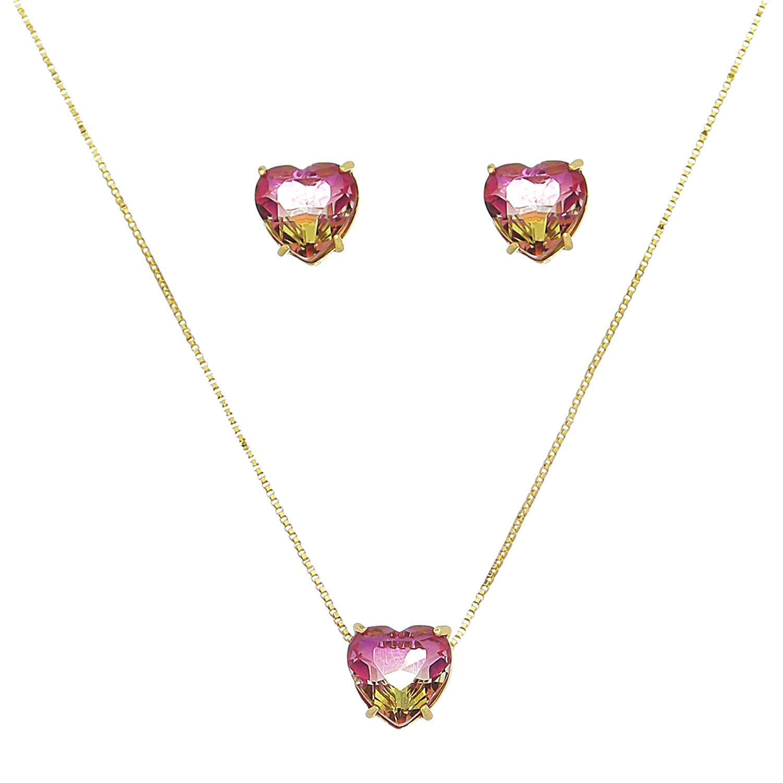 Conjunto Coração Pedra Rainbow Rosa/Amarelo Ouro 18ks