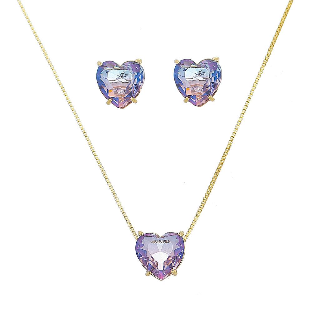 Conjunto Coração Pedra Rainbow Roxo/Rosa Ouro 18k