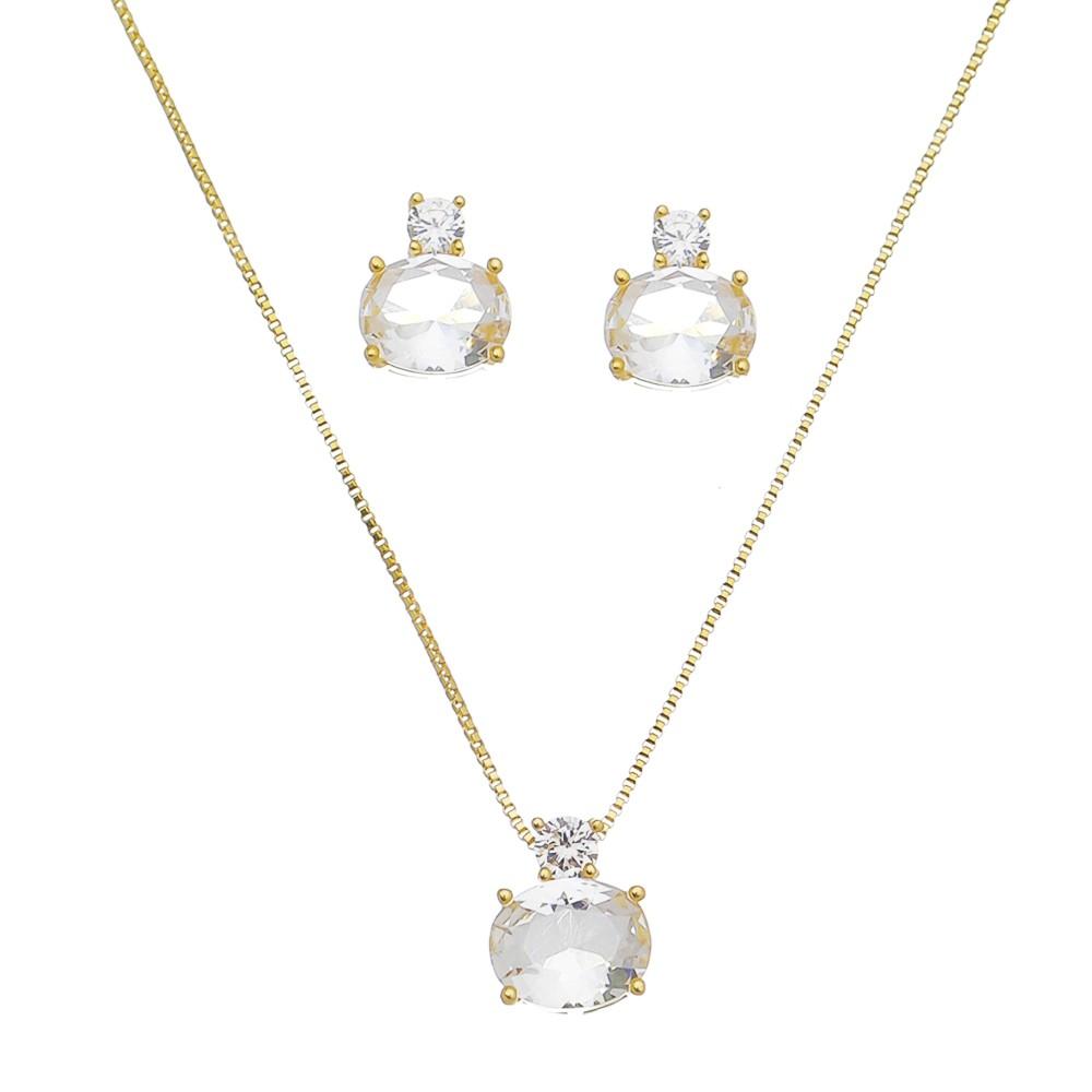 Conjunto Cristal Incolor Oval e Zircônia Juels - Banho Ouro 18k
