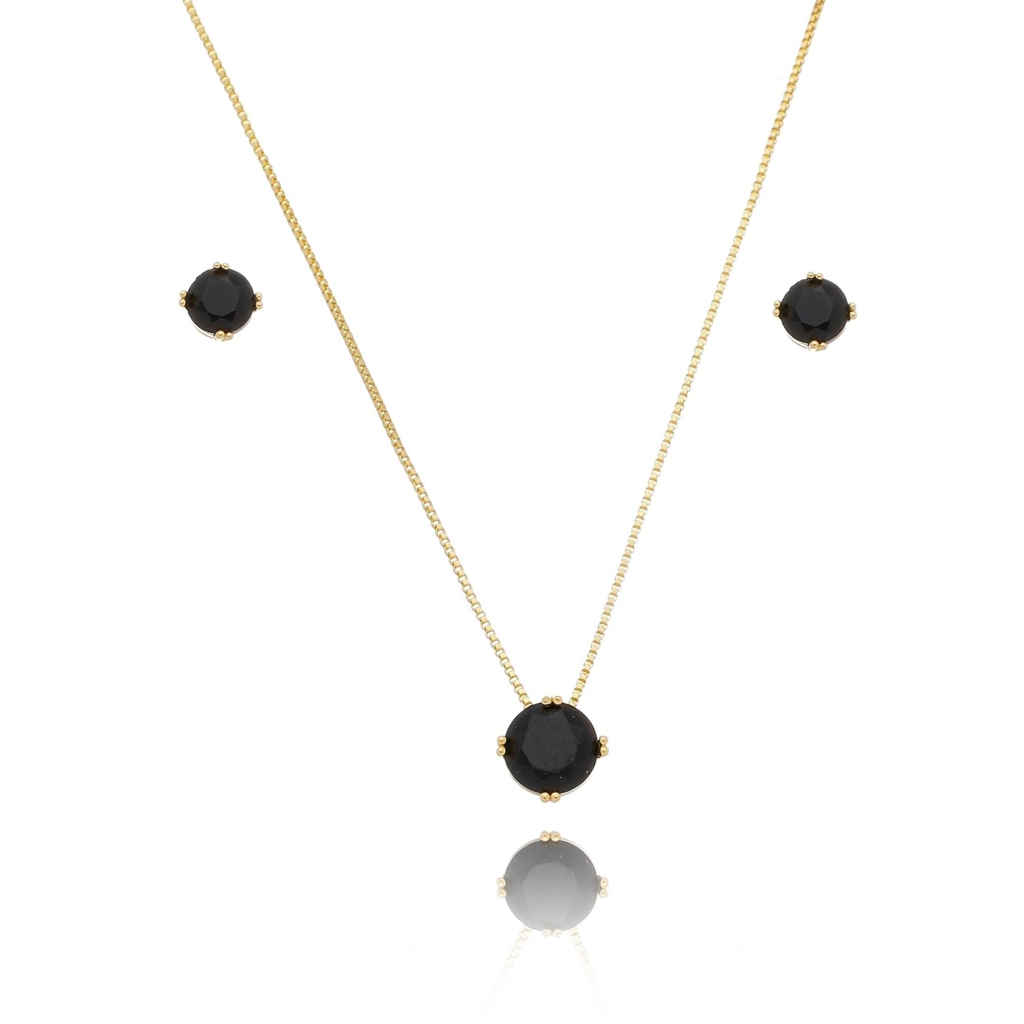 Conjunto de Colar e Brincos com Pedra em Cristal Preto Folheado em Ouro 18k - Giro Semijoias