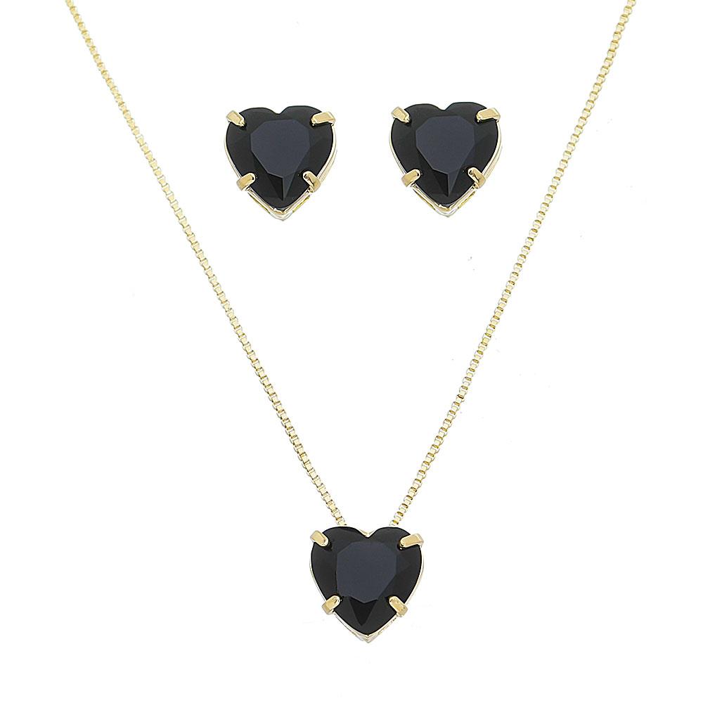 Conjunto de Colar e Brincos de Coração em Cristal Preto Folheado em Ouro 18k
