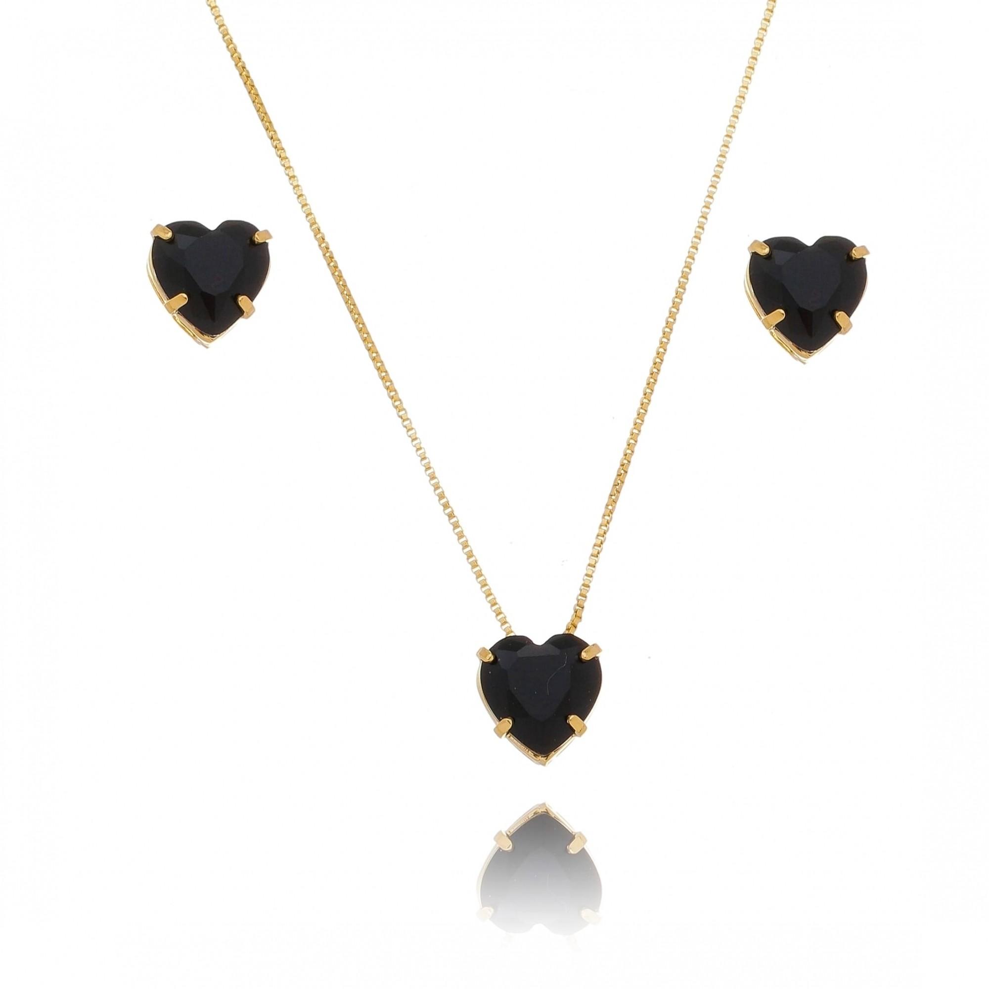 Conjunto de Colar e Brincos de Coração em Cristal Preto Folheado em Ouro 18k - Giro Semijoias