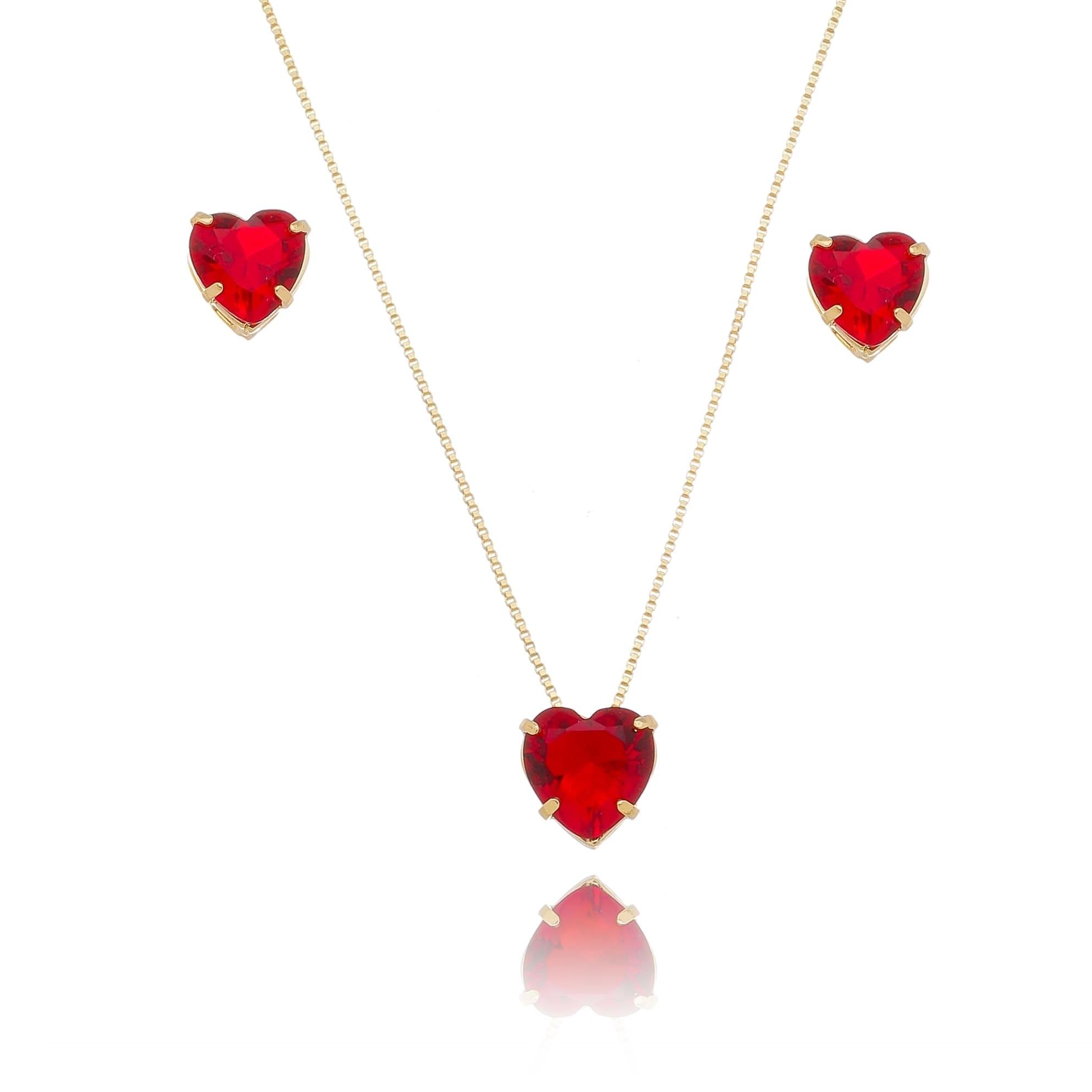 Conjunto de Colar e Brincos de Coração em Cristal Vermelho Folheado em Ouro 18k
