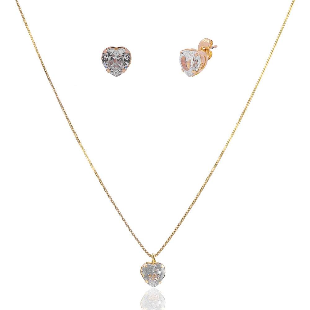 Conjunto de Colar e Brincos de Coração en Cristal Folheado em Ouro 18k - Giro Semijoias