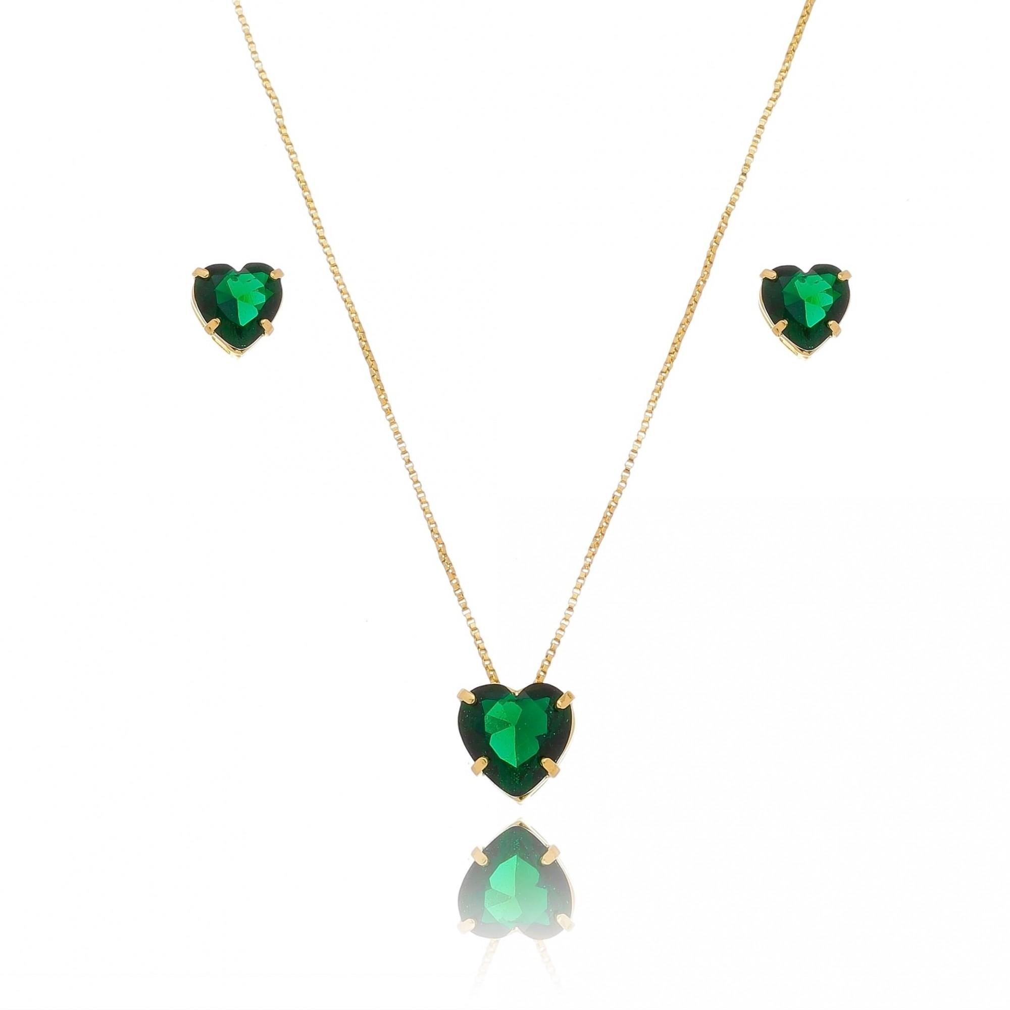 Conjunto de Colar e Brincos de Coração en Cristal Verde Folheado em Ouro 18k - Giro Semijoias