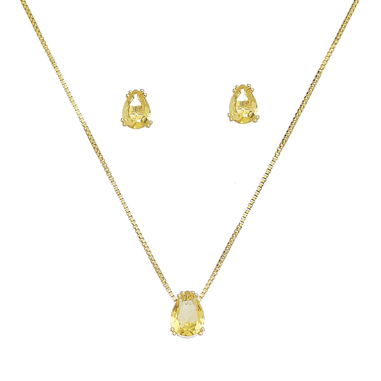 Conjunto de Colar e Brincos Gota com Pedra em Cristal Amarelo Folheado em Ouro 18k
