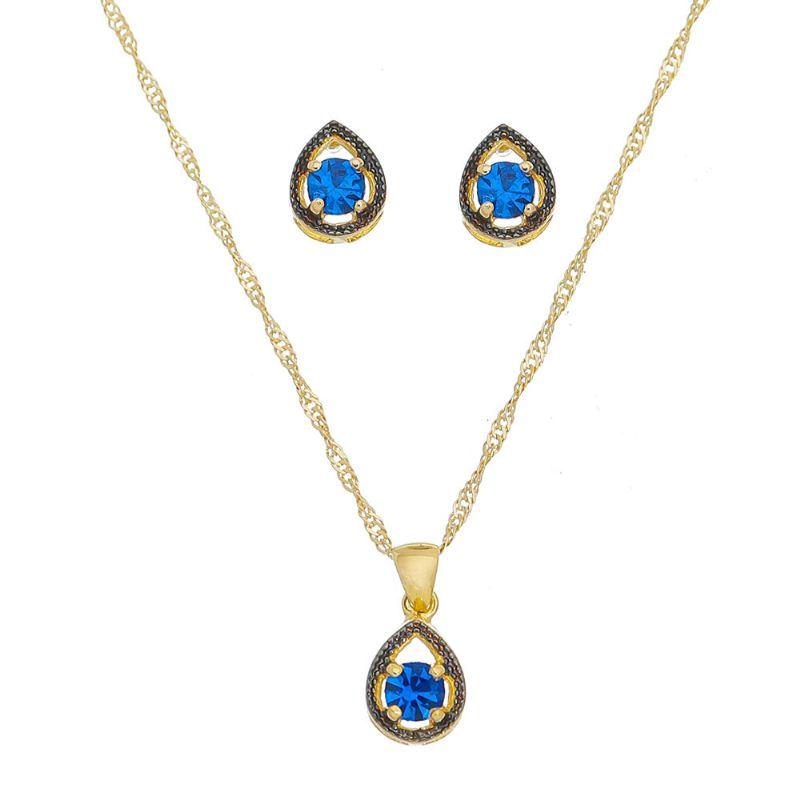 Conjunto de Colar e Brincos Gota com Pedra em Cristal Azul Folheado em Ouro 18k