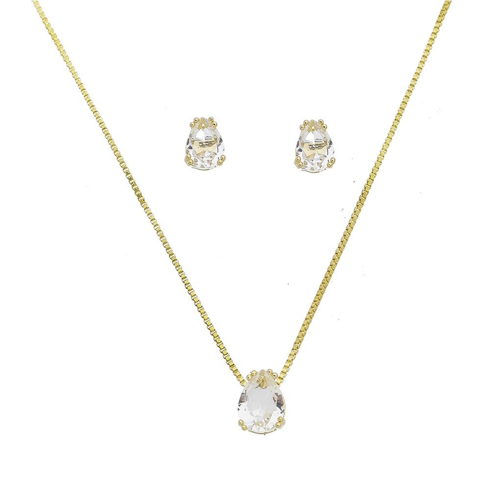 Conjunto de Colar e Brincos Gota com Pedra em Cristal Incolor Folheado em Ouro 18k - Giro Semijoias