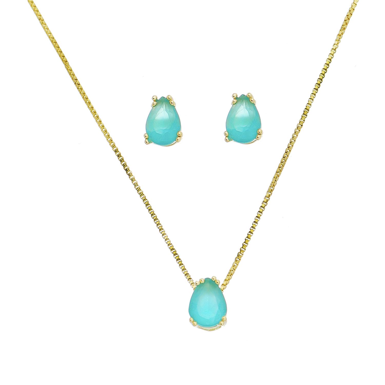 Conjunto de Colar e Brincos Gota com Pedra em Cristal Verde Agua Folheado em Ouro 18k