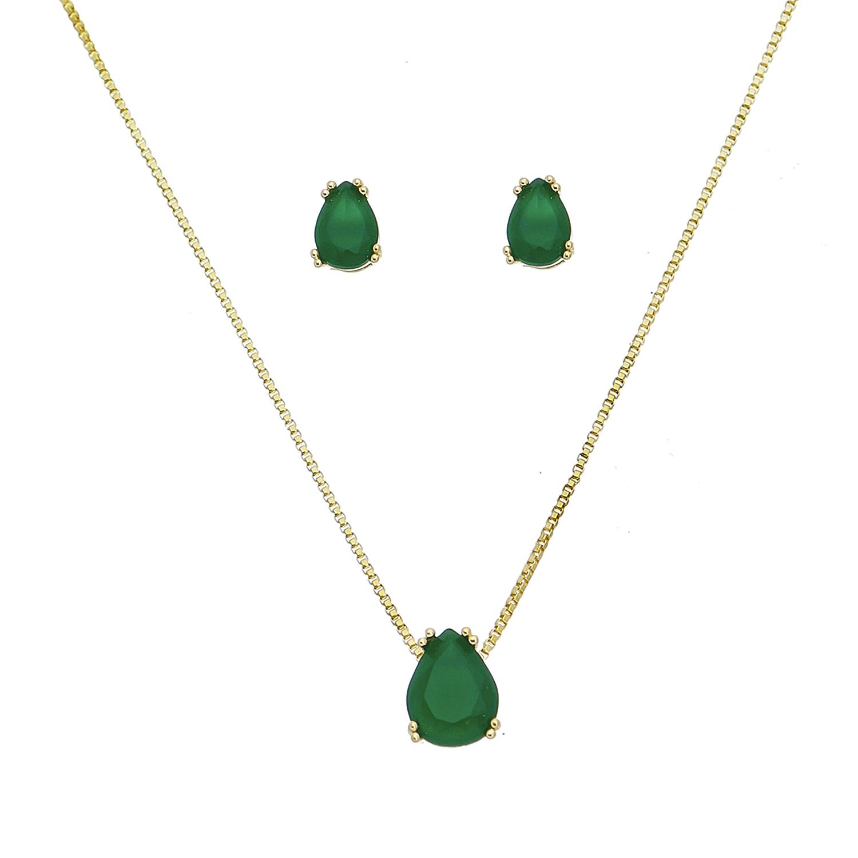 Conjunto de Colar e Brincos Gota com Pedra em Cristal Verde Folheado em Ouro 18k