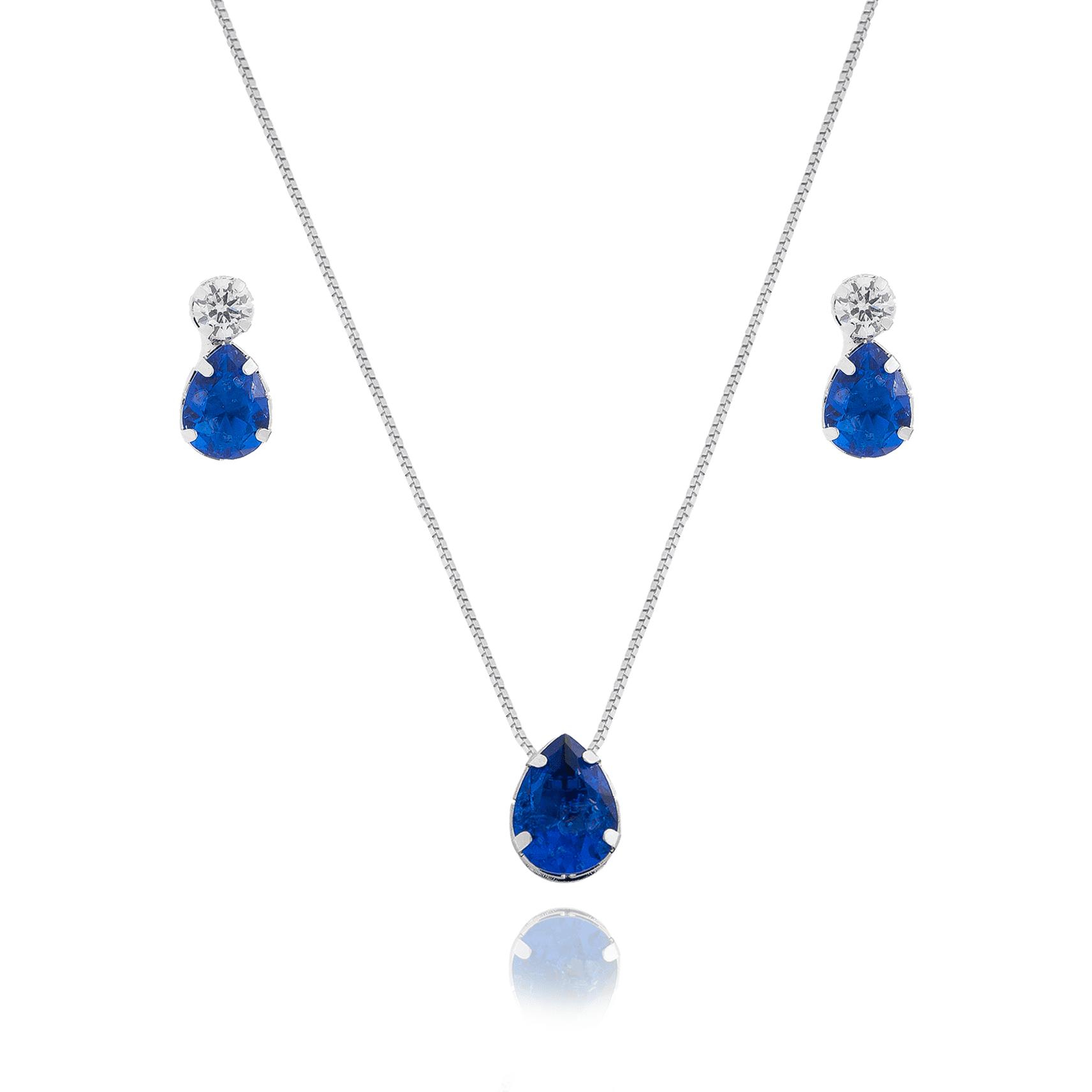 Conjunto de Colar e Brincos Gota com Pedra Fusion Azul Folheado em Ródio Branco - Giro Semijoias