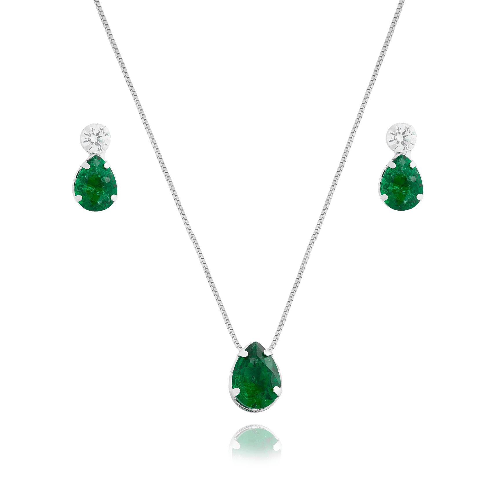 Conjunto de Colar e Brincos Gota com Pedra Fusion Verde Folheado em Ródio Branco - Giro Semijoias